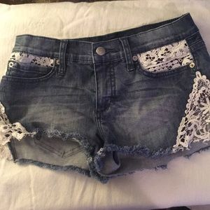 Bebe size 27 jean and lace shorts